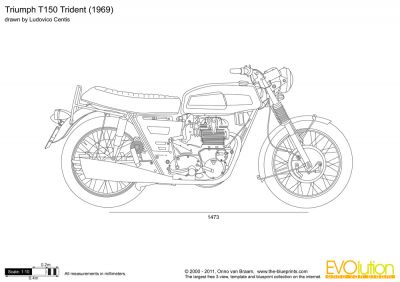 Triumph Trident T-150 - vector drawings