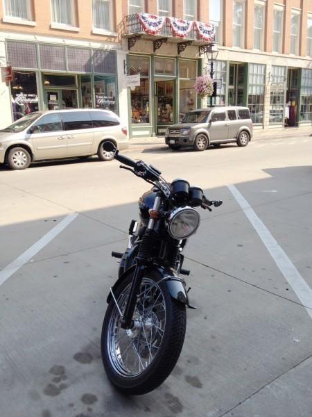 2008 Triumph Bonneville parked in downtown Galena, Illinois