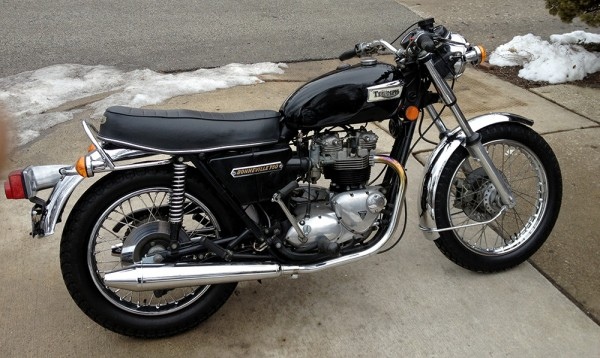 1976 Bonnie with lower bars and no mirrors.