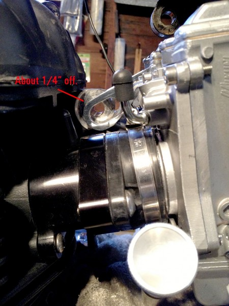 Misalignment of carb mounting bracket when using TPUSA billet manifolds.