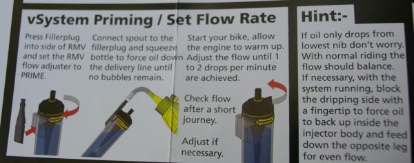 Flow rate instructions.