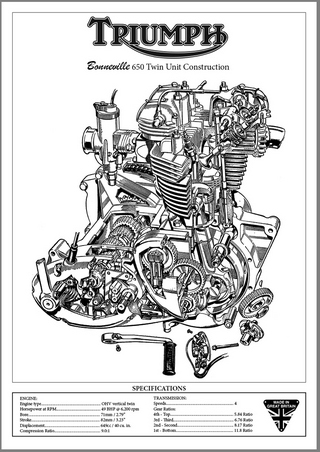 Triumph Bonneville 650 Twin Unit Construction Engine Cutaway Illustration