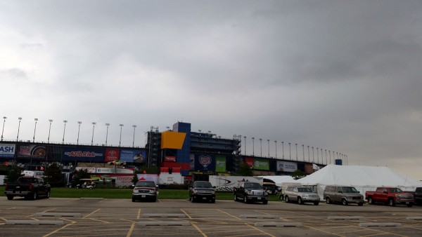 Walking to the main entrance of the Chicagoland Speedway on Friday night.
