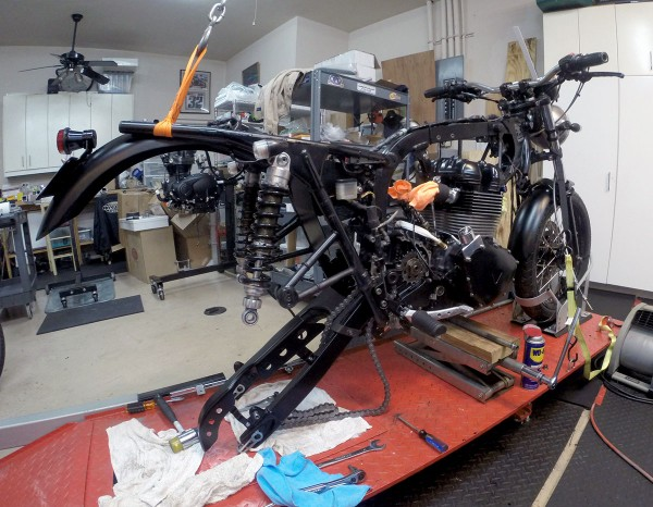 GoPro view of engine and frame assembly