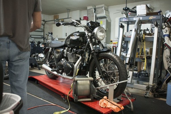 Fully assembled Bonneville on stand during heat cycling of the engine.