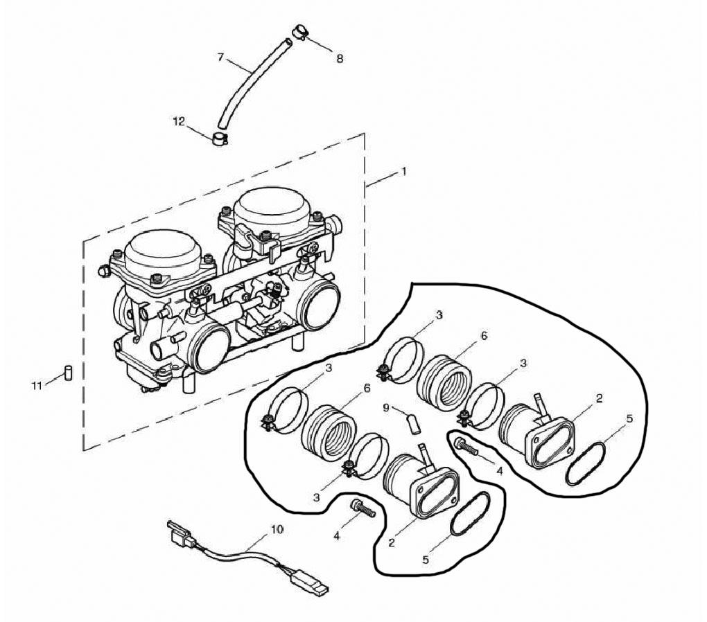 oem intake manifolds 865cc engine triumph bonneville a Suzuki Twin Engines with Tie Bar tr 0606 656